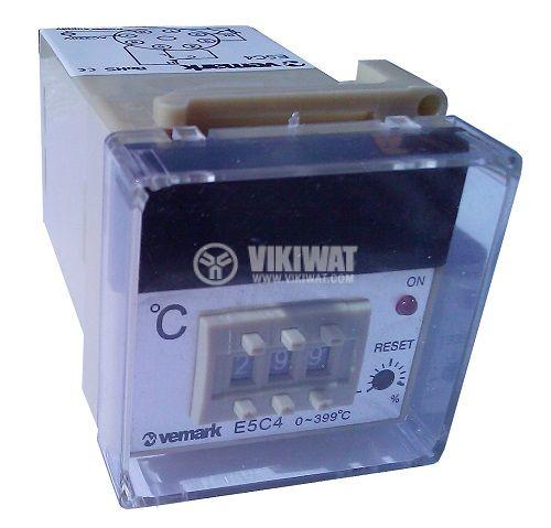Temperature regulator, E5C4, 220 VAC, 0 ° C to 400 ° C, thermocouple type J, relay output - 1