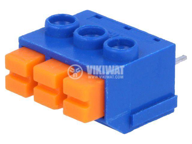 PCB терминален блок, с изолационни прегради, 3 пина, 8А, 5mm
