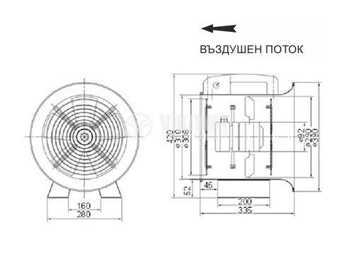 Fan, Industrial, Axial, Ф300mm, 220VAC, 195W, 3250m3/h, VP-2E-300 - 2