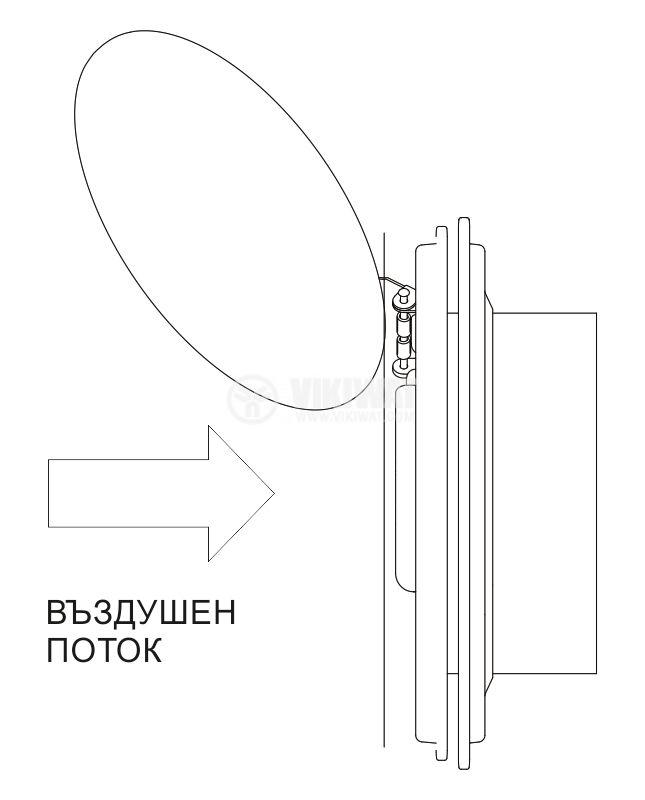 Fan, industrial BK160, Ф160mm, 220VAC, 27W, 450m3 / h, with shutter - 4