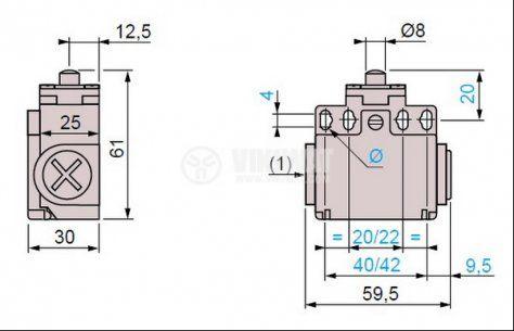 Краен изключвател, XCK-T511, SPDT-NO+NC, 10A/400VAC, щифт - 4
