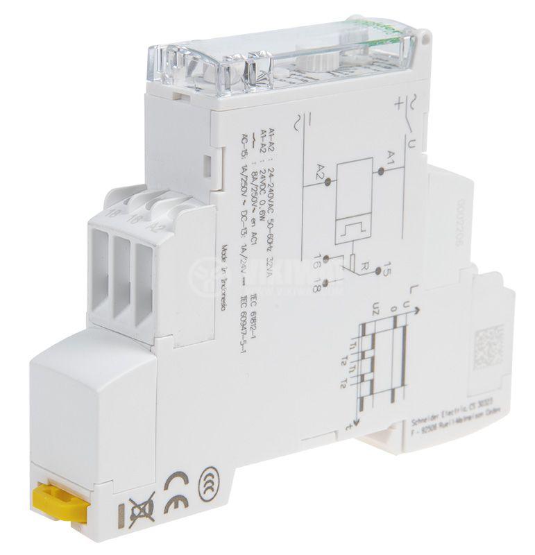 Реле за време IRTL, циклично, 24-240VAC, 24VDC, NO+NC, 8A/250VAC активен товар, 3A индуктивен, 0.8A капацитивен, 0.1s - 100h - 5