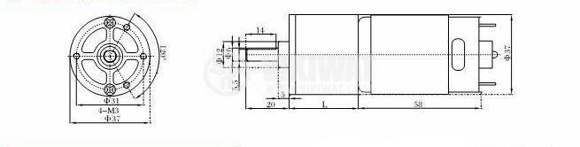 Електродвигател, постояннотоков, с редуктор, 12 VDC,12rpm, VGA37RG-275i - 3