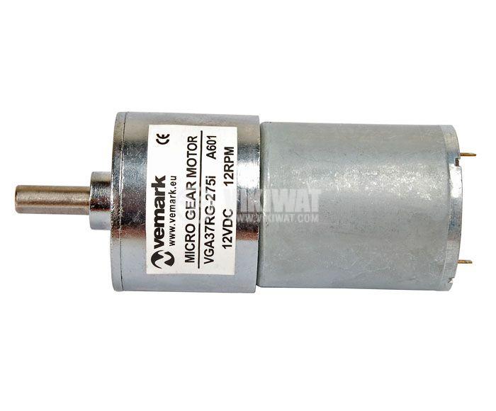 Електродвигател, постояннотоков, с редуктор, 12 VDC,12rpm, VGA37RG-275i - 2