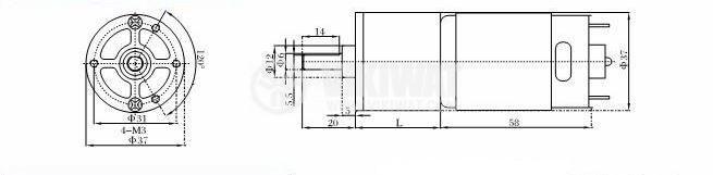 Електродвигател, постояннотоков, с редуктор, 12VDC, 2rpm, VGA37RG-708i - 2