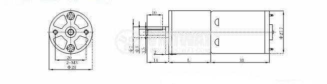 Електродвигател, постояннотоков, с редуктор, 24VDC, 160rpm, VGA28RO-62.4i - 2