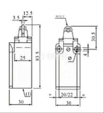 Краен изключвател с щифт с ролка - 3