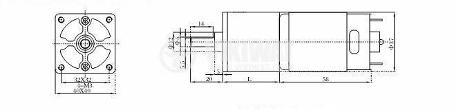 DC Motor Reducer, 24VDC, 50rpm, VGA37FG-58.7i - 3