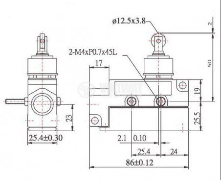 Limit Switch MJ1-6112, SPDT-NO+NC, 15A/480VAC, pusher with roll - 2