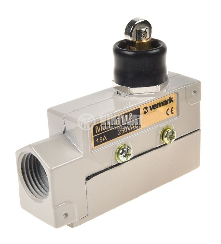 Limit Switch MJ1-6112, SPDT-NO+NC, 15A/250VAC, pusher with roll - 1