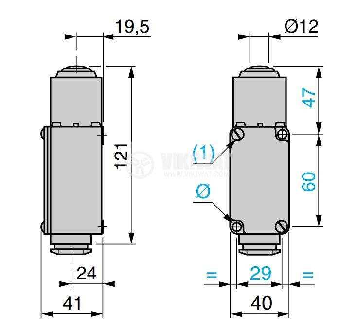Краен изключвател, XC2-JC, NO+NC, 500VAC / 300VDC, 10A, щифт - 3