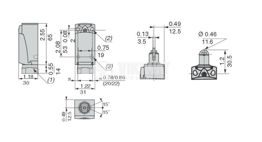 Краен изключвател, XCKP2502P16, NO+NC, 240VAC / 250VDC, 10A, щифт с ролка - 4