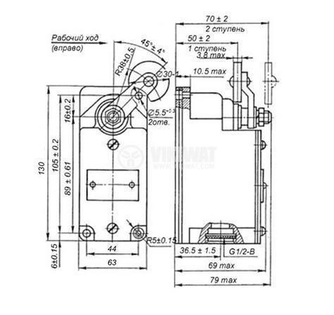 Limit Switch ВП16г23а24, DPST - NO+NC, 16A/660VAC, roller arm Ф36mm SPDT-NO + NC - 3