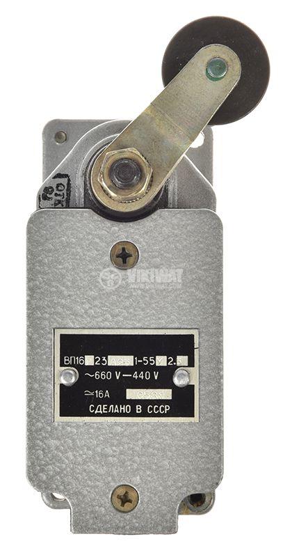Краен изключвател, незадържащ, ВП16г23а23, SPDT - NO+NC, 16A/660VAC, рамо с ролка - 1