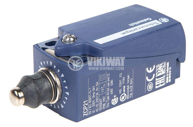 Краен изключвател, XCKP2111P16, NO+NC, 240VAC / 250VDC, 10A, щифт - 2