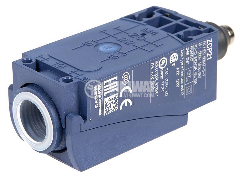 Краен изключвател, XCKP2111P16, NO+NC, 240VAC / 250VDC, 10A, щифт - 3