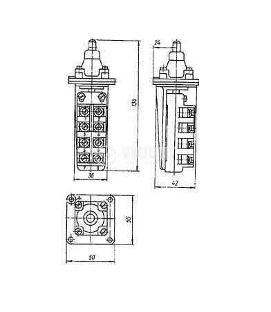 Краен изключвател, ВП19-21А411-67Y2.27, 4PST-3NO+1NC, 10A/660VAC, щифт - 4
