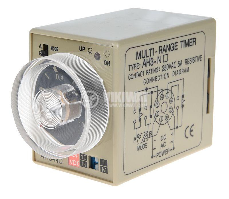 Реле за време, аналогово, AH3-2D, 24 VDC, 2NO +2 NC, 220 VAC, 10 A, 0-10 h - 1