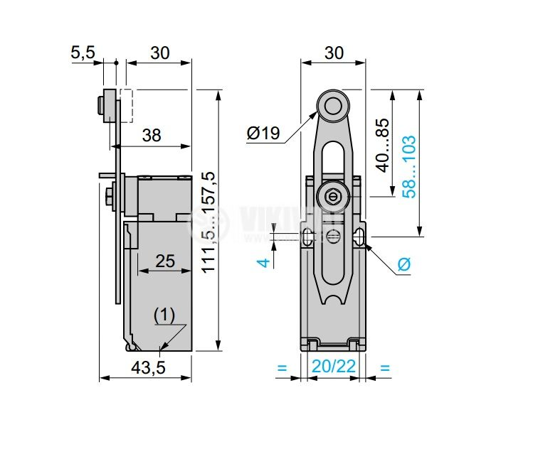 Limit Switch, XCKP2545P16, NO + NC, 240VAC / 250VDC, 10A, roller lever - 2