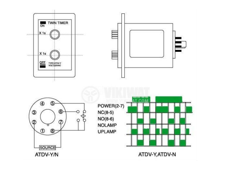 Repeat Cycle Timing Relay ATDV-Y 0-60s, 24VDC, NO+NC, 250VAC, 3A - 2