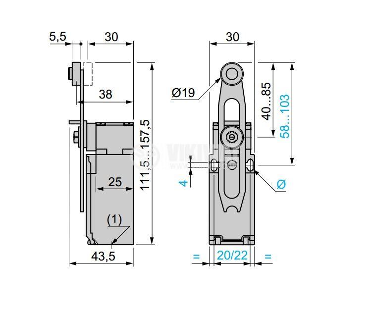 Limit Switch, XCKP2145P16, NO+NC, 240VAC / 250VDC - 4