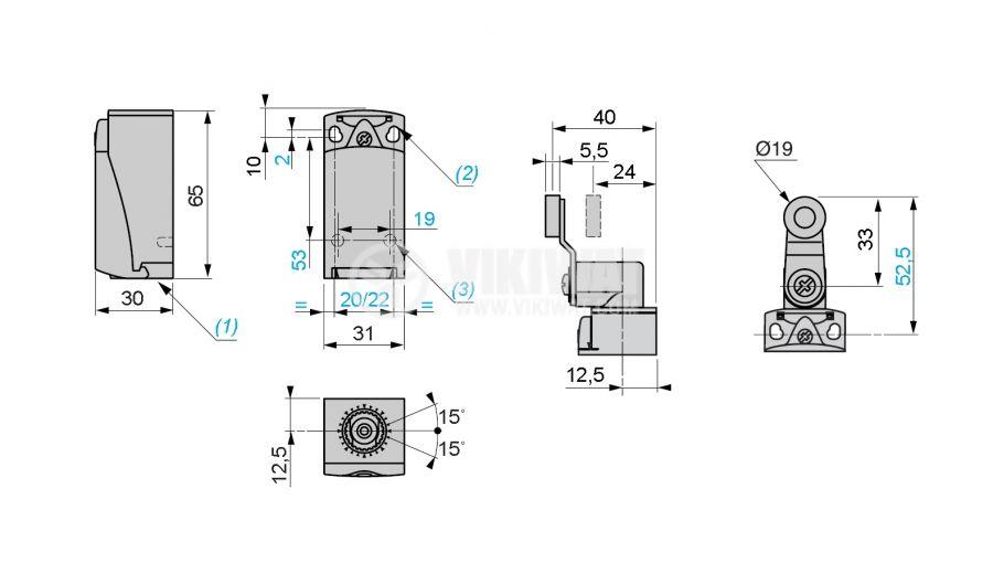Краен изключвател, XCKP2118P16, NO+NC, 240VAC / 250VDC, 10A, рамо с ролка - 2