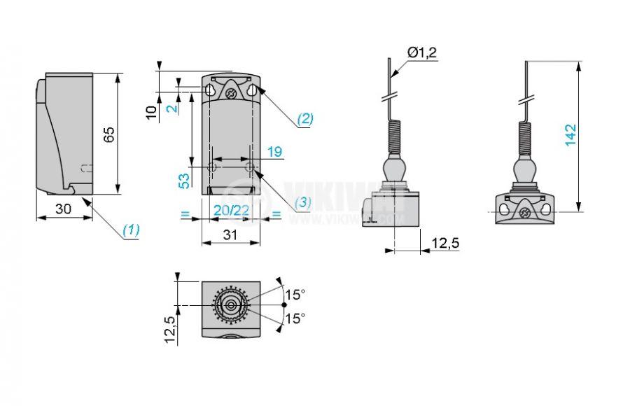 Краен изключвател, XCKP2106P16, NO+NC, 240VAC / 250VDC - 4