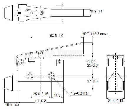 Краен изключвател, AZ-7120, SPDT-NO+NC, 10A/240VAC, лост - 2