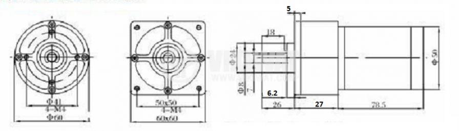 DC Motor Reducer, 24VDC, 56rpm, VGA60FHH-72i - 3