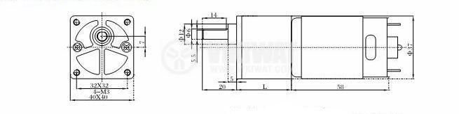 Електродвигател, постояннотоков, с редуктор, 24VDC, 12rpm, VGB37FG-240i - 2