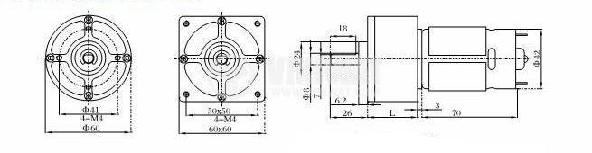 DC Motor Reducer, 12VDC, 55rpm, VGA60RH-71.5i - 2