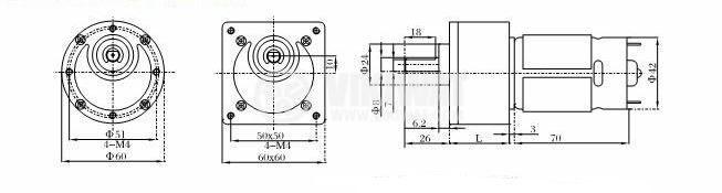 DC Motor Reducer, 12VDC, 58rpm, VGB60RM-107i - 2
