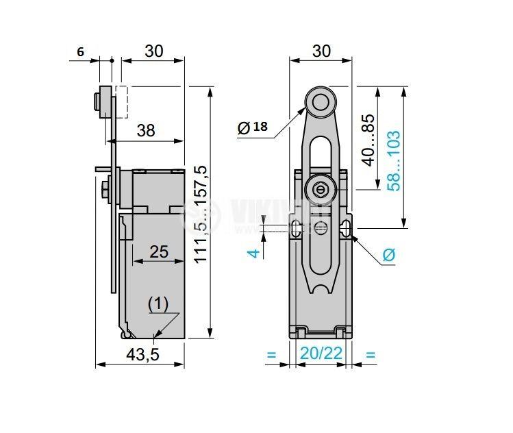 Краен изключвател, XCK-P, 2PST-NO+NC, 10A/240VAC, регулируемо рамо с ролка - 4
