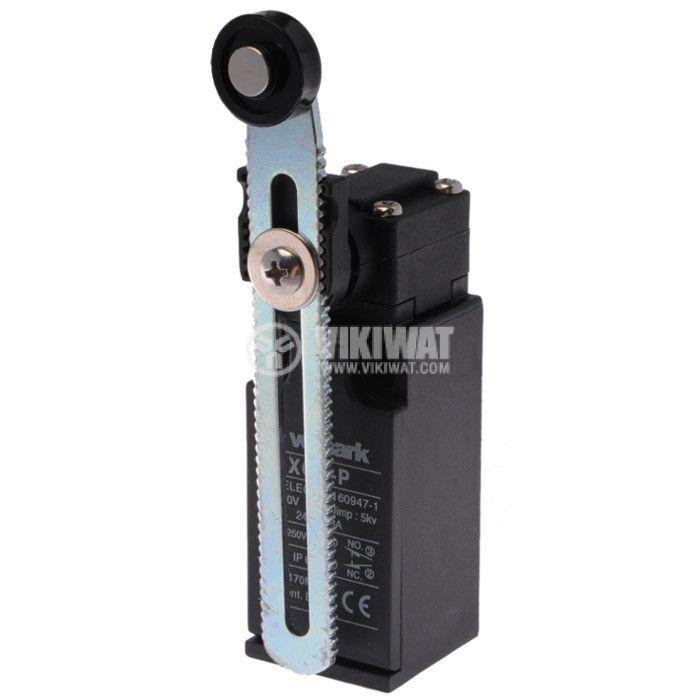 Краен изключвател, XCK-P, 2PST-NO+NC, 10A/240VAC, регулируемо рамо с ролка - 1