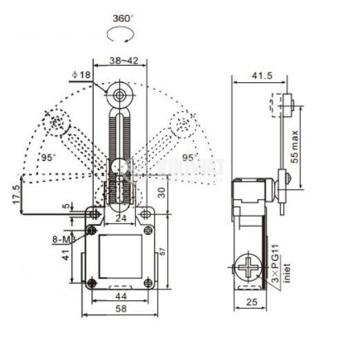 Краен изключвател XCK-M141, 2PST-NO+NC, 10A/250VAC, регулируемо рамо с ролка - 3