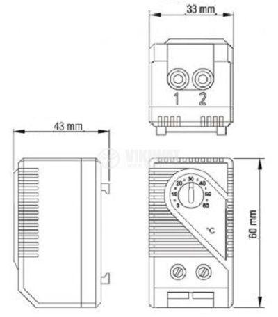 Термостат, биметален, КТS 011, 0 °C - 60 °C, NC, товароносимост 10 A / 250 VAC - 3