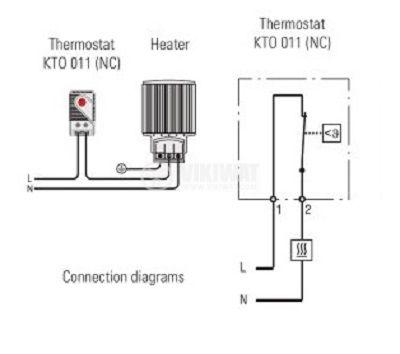 Термостат, биметален, КТS 011, 0 °C - 60 °C, NC, товароносимост 10 A / 250 VAC - 4