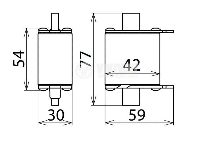 Предпазител, стопяем, NH00-7080, 125A, 500VAC, gG/gL, ножовиден - 2