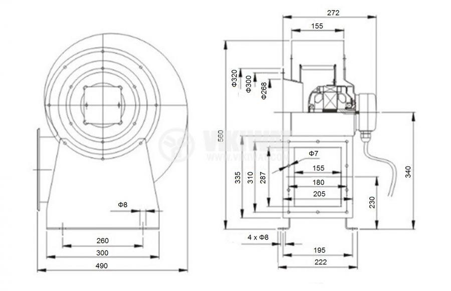 Centrifugal radial blower, V-300QD, 220VAC, 1250W, 3200m3/h - 2