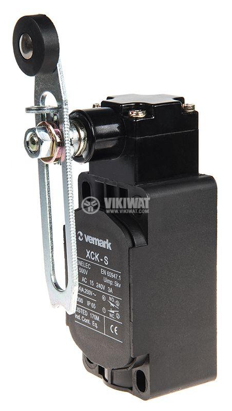Краен изключвател XCK-S141, SPDT-NO+NC, 10A/250VAC, регулируемо рамо с ролка - 1