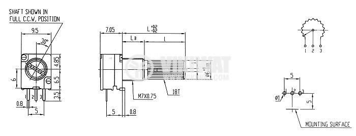 Потенциометър линеен моно - 4