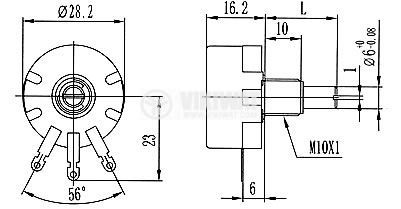 Потенциометър 2.2kOhm 1W - 3