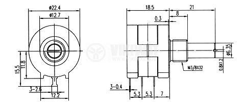 Потенциометър линеен, моно, жичен, 1kOhm, 2W - 2