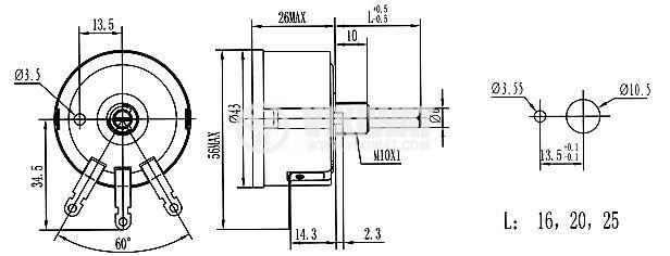 Потенциометър моно жичен - 3