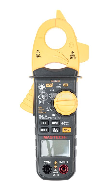 Clamp AC Meter MS2160, LCD (4000), ф40mm, Vac, Vdc, Aac, Ohm, F, Hz - 1