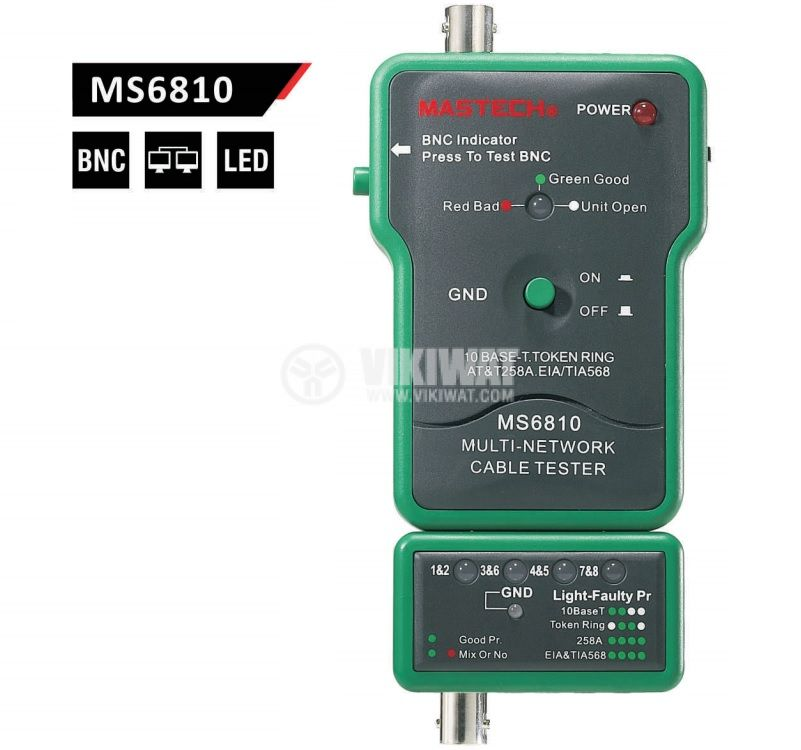 Network Cable Tester MS6810, BNC, UTP, STP - 1