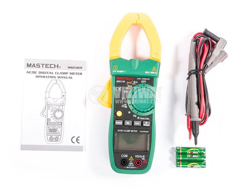 MS2138 - Амперклещи, LCD (4000), Φ40mm, Vac, Vdc, Aac, Adc, Ohm, капацитет, MASTECH - 3