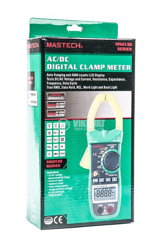 MS2138 - Амперклещи, LCD (4000), Φ40mm, Vac, Vdc, Aac, Adc, Ohm, капацитет, MASTECH - 6