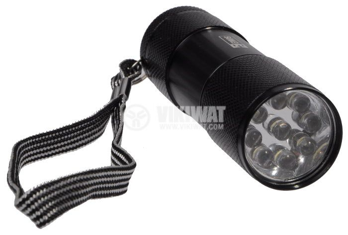 LED фенер метален, 9 светодиода, черен, зелен, син, червен - 3