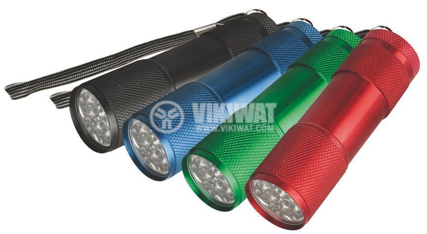 LED фенер метален, 9 светодиода, черен, зелен, син, червен - 1